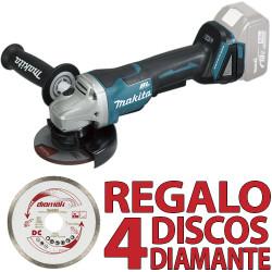 Amoladora 18V 115mm BL Palanca DGA458Z + 4 Discos Diamante D61189 Amoladoras