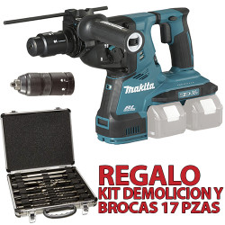 Martillo 3 Modos 28mm 18V+18V BL 2 Portabrocas DHR281Z + Regalo Kit Demolición Martillos