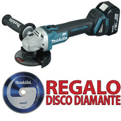 Amoladora 18V 115mm 4.0 Ah Bruhsless DGA454RMJ + Disco Diamante B13085 115 mm