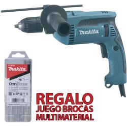 Taladro Percutor 16mm 680W Automático HP1641 + Brocas Multimaterial Taladros Con Percutor