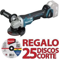 Amoladora BL 18V 5.0Ah 115mm DGA458RTJ + 25 Discos Corte Metal P53001 115 mm