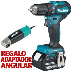 Taladro Atornillador BL 18V 40Nm 5.0Ah DDF483RTE + Adaptador Angular 18V